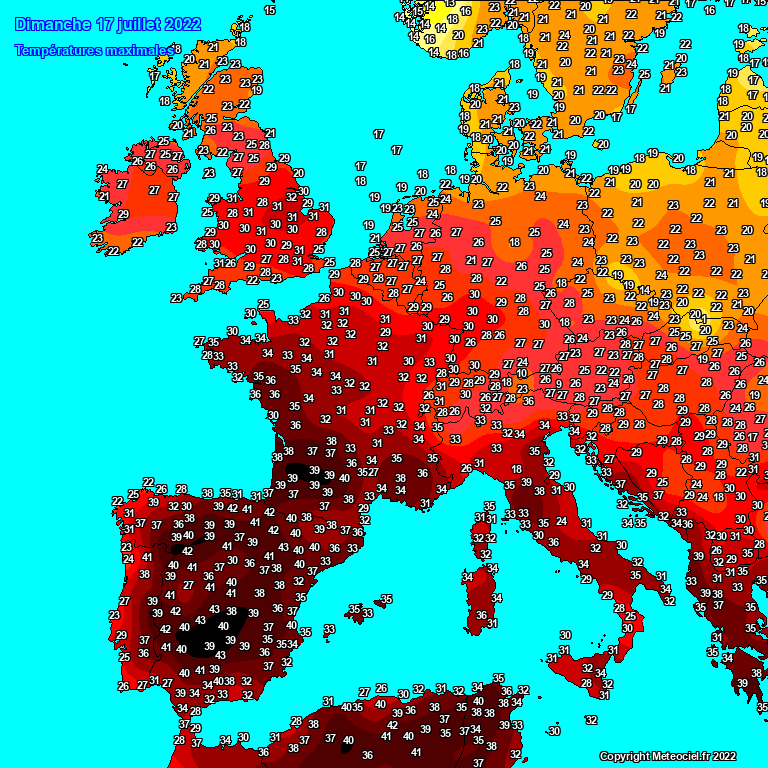 maximum temperatuur Europa gisteren