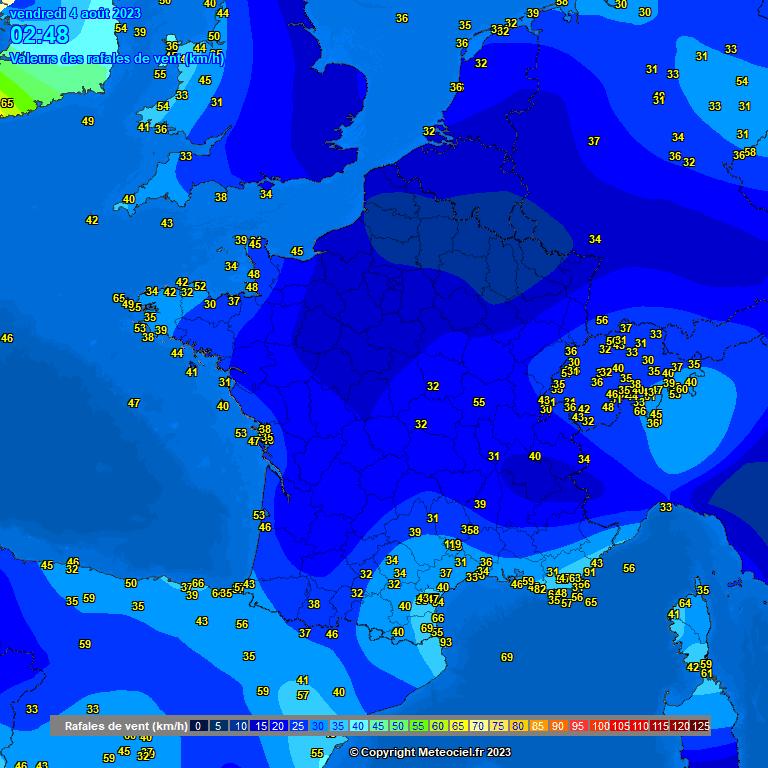 vent moyen et rafales en France et en Europe météopassion