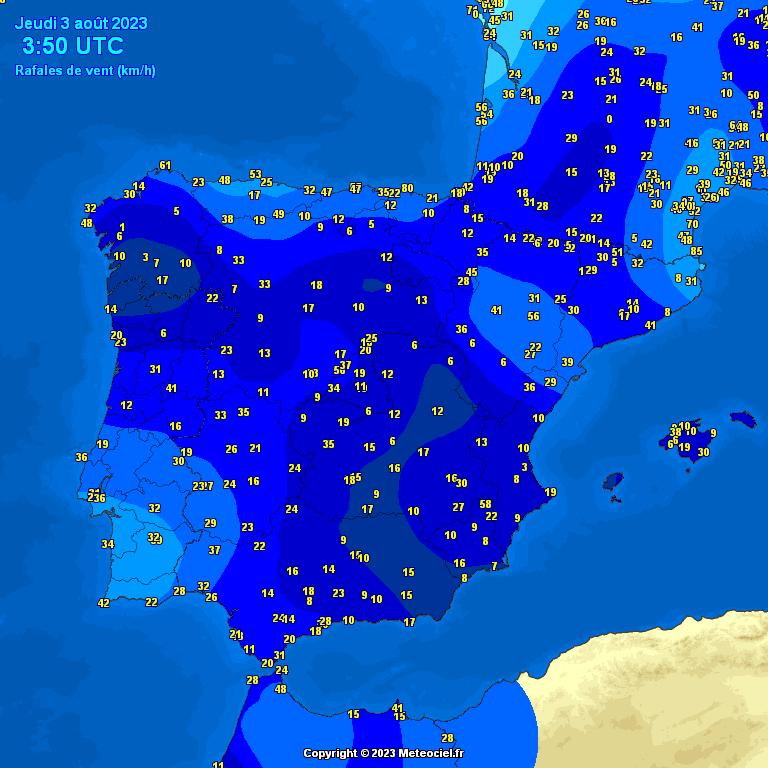 Rachas de Viento Máximo en España y Zaragoza