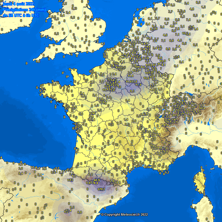 accumulated rainfall France Europe