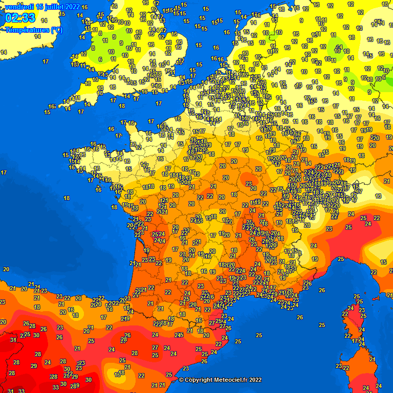 les temp�ratures en France