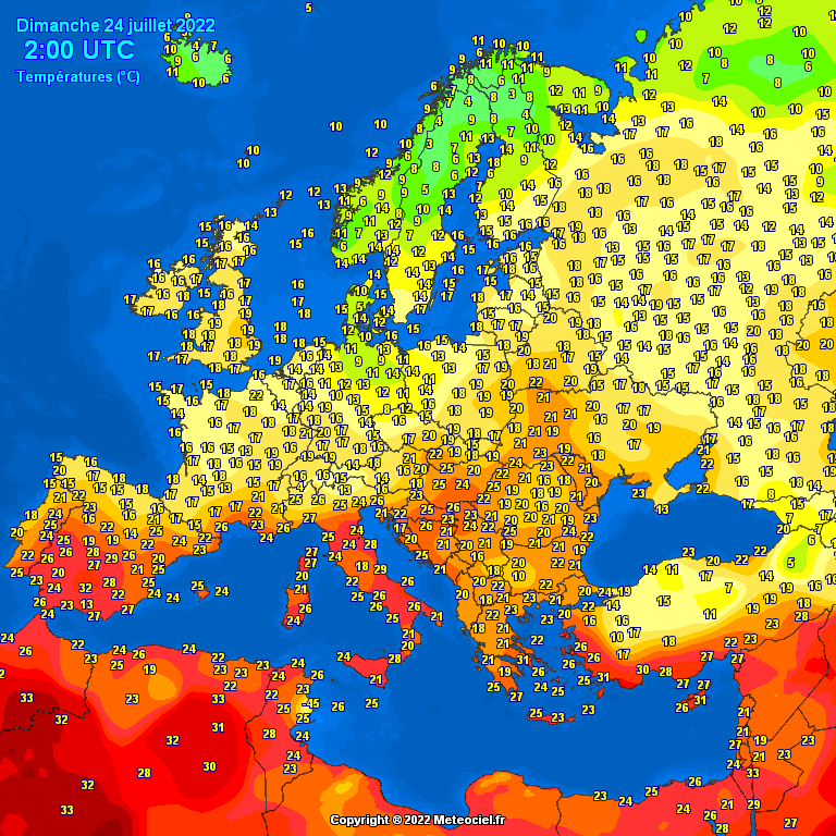 Temperatures on Europe this morning – Major cities (Temperaturile în Europa)