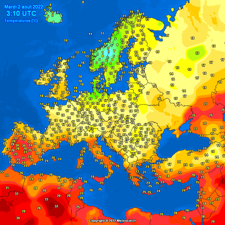 Noontime temperatures Europe - Major cities temperature #weather (Temperaturile pranzului in Europa)