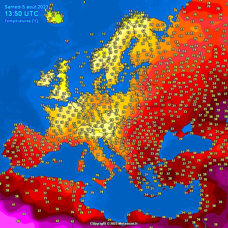 Aktuální teplota vzduchu v Evropě každou hodinu