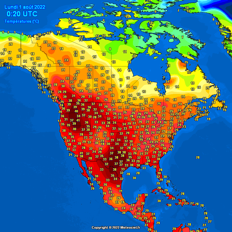 Temperature in America Settentrionale