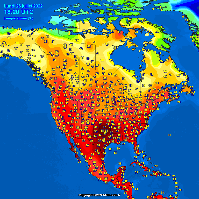 Real Time Temperatures on Europe - North America