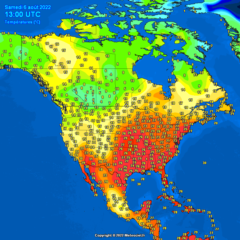 Morning temperatures North America – Major cities #USA #Canada (Temperaturile diminetii in America de Nord)