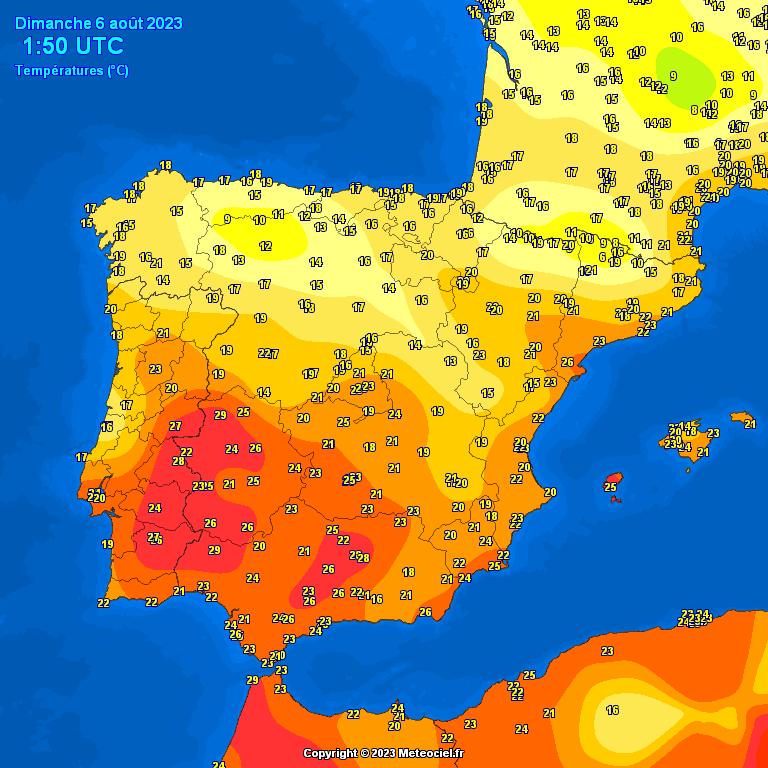 Mapa de Temperaturas observadas en Zaragoza y España