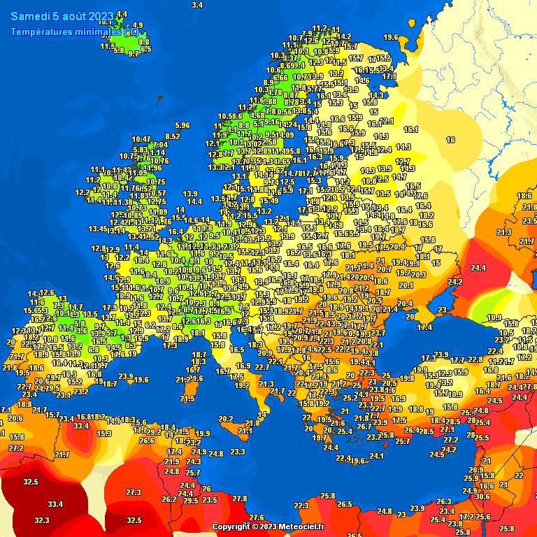 Minima teploty vzduchu za den v Evropě