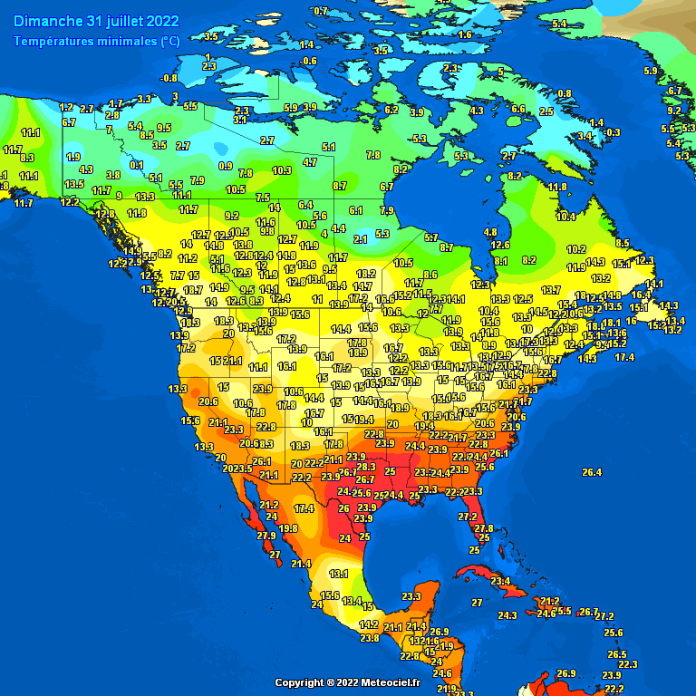 Daily Min/Max Temperature Recorded by Synop Reports #USA #Canada