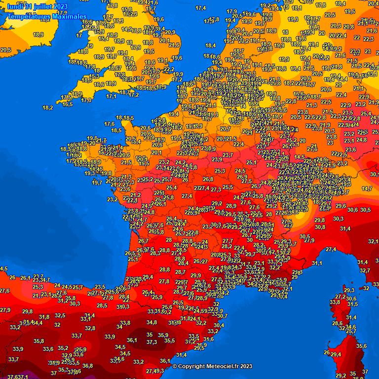 temperatuur gisteren in Europa