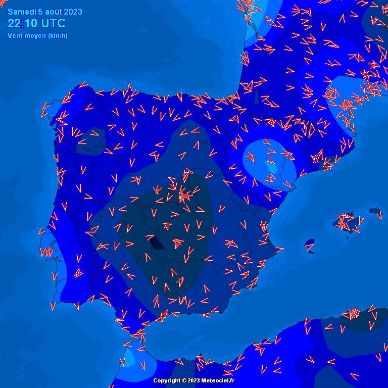 Dirección del Viento en España y Zaragoza Mapa