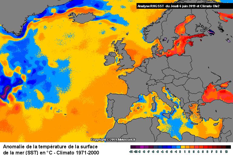 Anomalie de la température de la mer (SST) en Europe